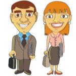 Dessin d'un homme en costume et d'une femme en tailleur