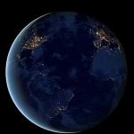 La planète Terre photographiée de nuit